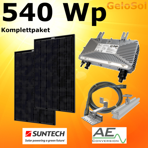 Eigenstromanlage 540 WP Schwarze Module